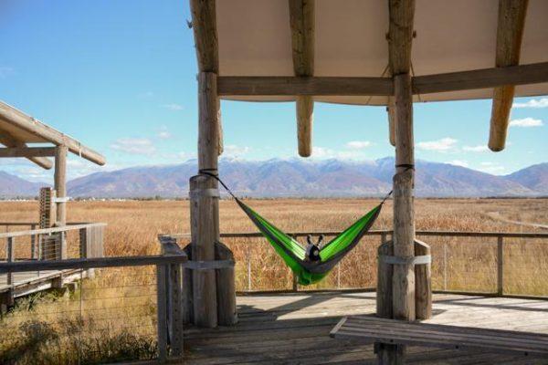 Apache Madera Hammocks hanging on porch overlook