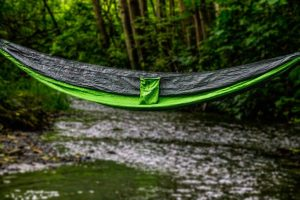 Apache Madera Hammocks hanging over a river