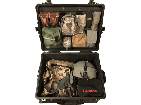 Case with molle panel gear is all mounted