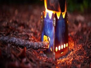 Camping stove burning wood