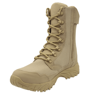 "Zip up combat boots 8"" tan inner toe with zipper altai Gear"