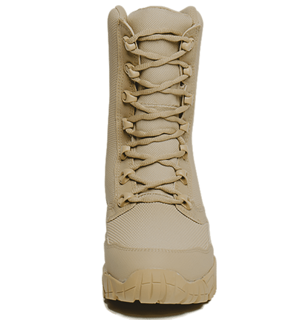 Tan Combat Boot Front view with laces Altai gear