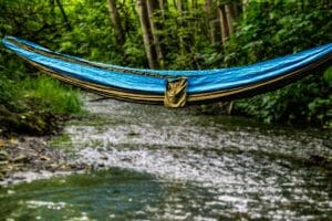 Earth Sky Madera Hammocks hanging over river
