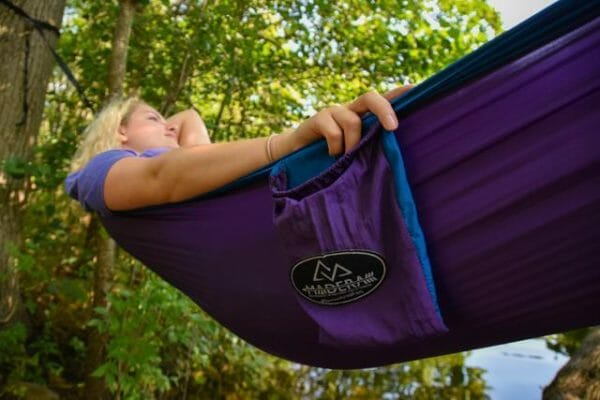 Jasmine Madera Hammocks Purple women laying down