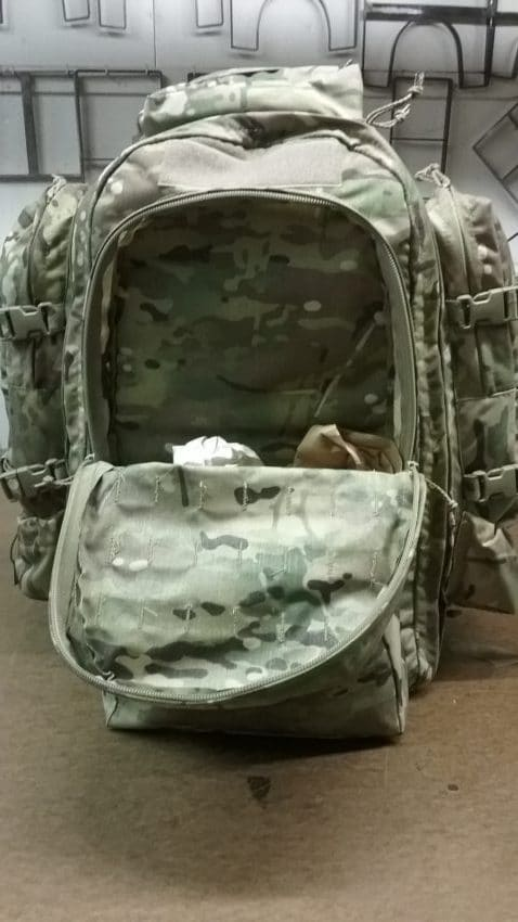 72 Hour back pack , Assault bag opened