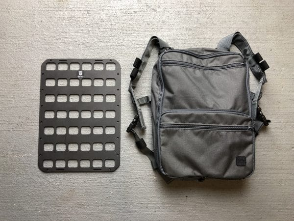 10 x 14 inches rmp molle panel for backpack next to backpack