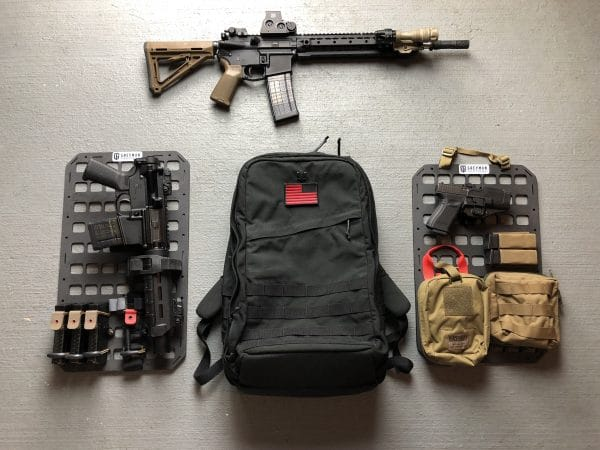 12.25 X 21 RMP molle panel backpack insert set up for rifle and psitol