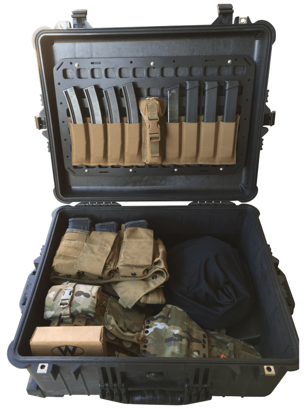 21.25 x 13 pelican case molle panel gear set up