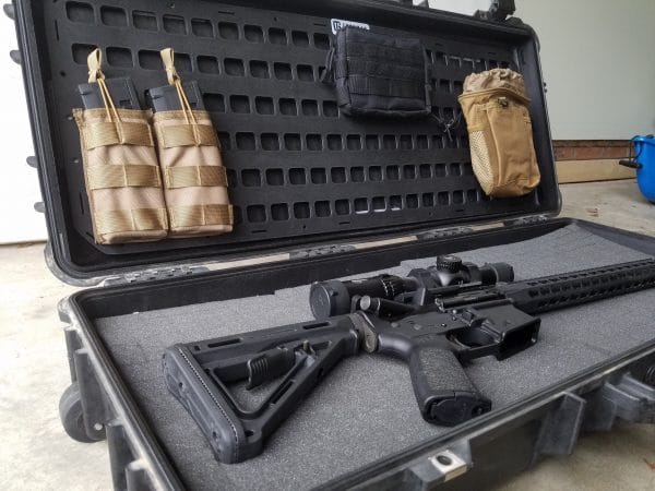 34.75 X 13 RMP for pelican case rifle and molle mags attached