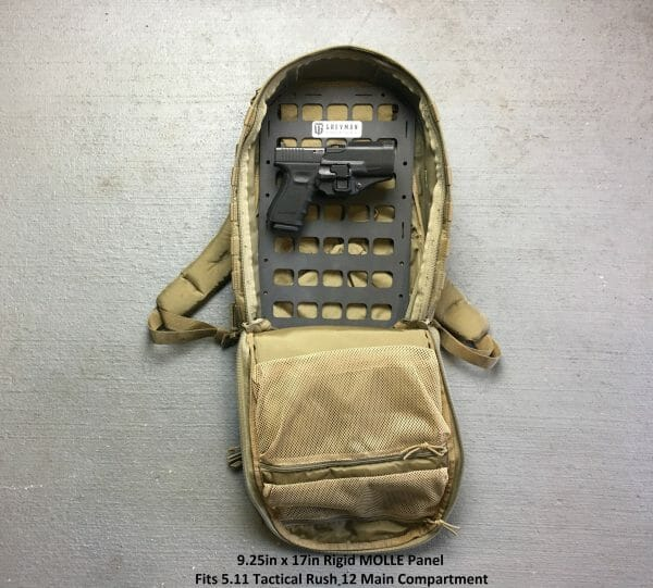9.25 X 17 RMP molle panel backpack inside with pistol attached edc