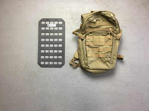 9.25 X 17 RMP molle panel backpack next to backpack