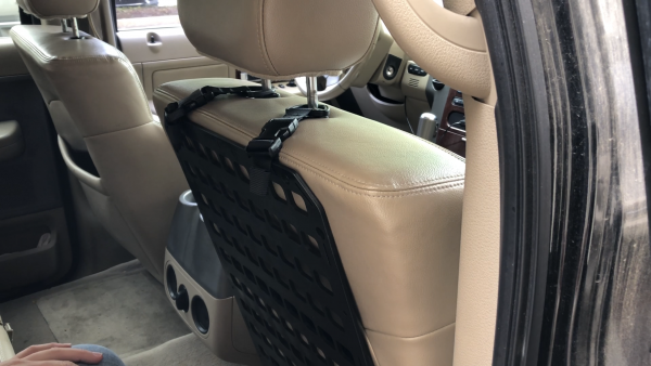 Buckle D-Ring RMP Straps™ [Headrest Post] attached to molle panel