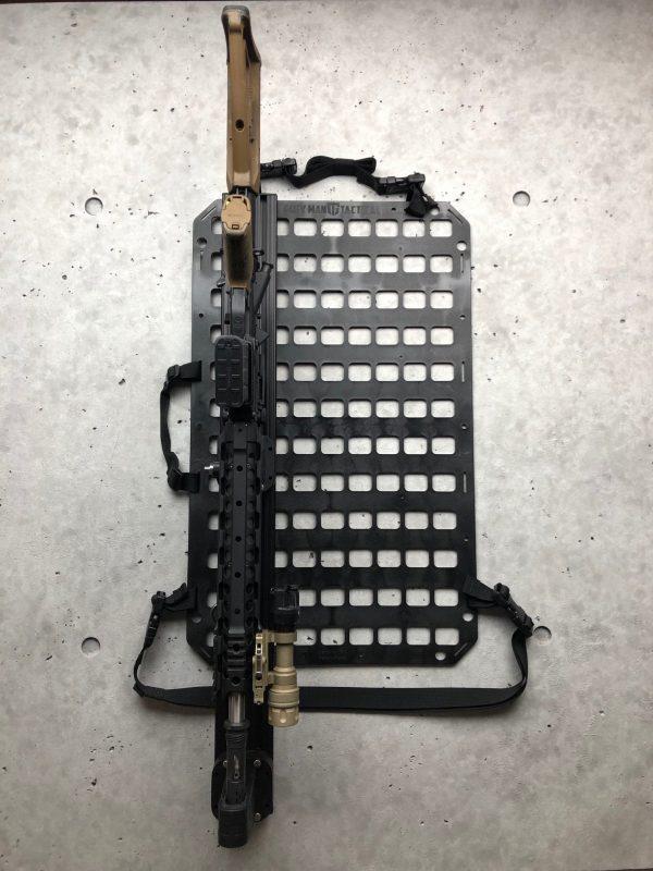 Locking Rifle Rack Kit - Raptor Rail Picatinny for vehicle mounting rifle locked on molle panel for vehicle