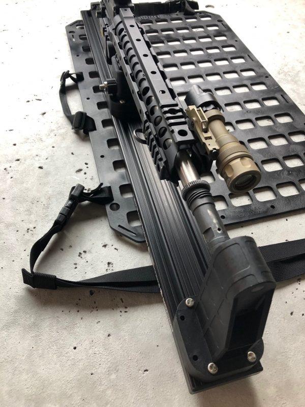 Locking Rifle Rack Kit - Raptor Rail Picatinny for vehicle mounting rifle mounted to molle panel