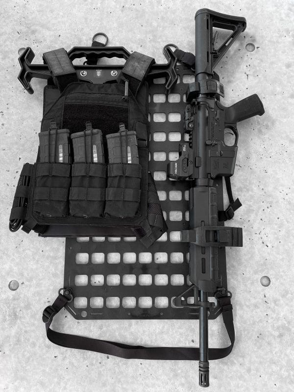 Tough Hook Kit [Plate Carrier] attached to molle panel and black