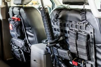 Vehicle Locking Rifle Rack - SC-6 Mount + 15.25 X 25 RMP™ mounted in car