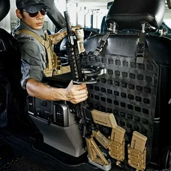 Vehicle Locking Rifle Rack - SC-6 Mount + 15.25 X 25 RMP™ on back seat