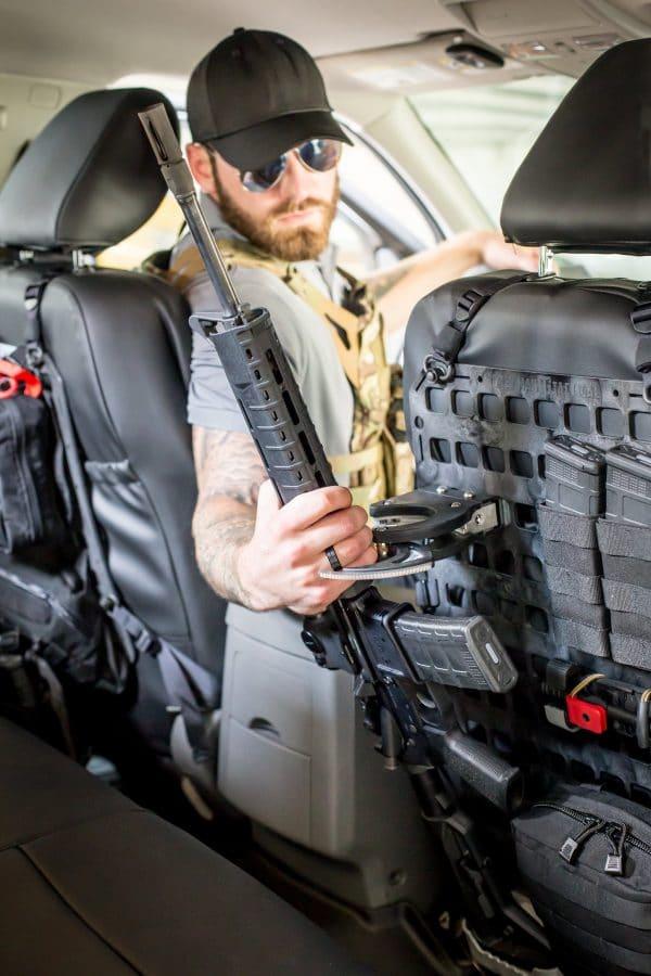 locking rifle mount on back seat of car
